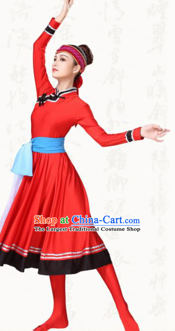 Chinese Traditional Mongol Minority Red Dress Ethnic Folk Dance Mongolian Costumes for Women