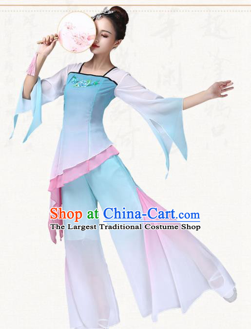 Chinese Traditional Folk Dance Yanko Dance Blue Dress Umbrella Dance Group Dance Costumes for Women