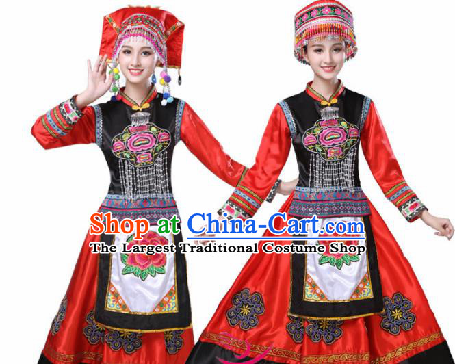 Chinese Ethnic Minority Red Dress Traditional Yi Nationality Folk Dance Costumes for Women