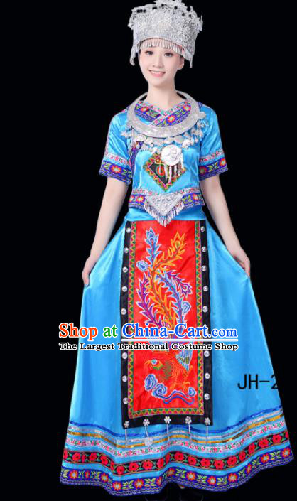 Chinese Ethnic Minority Blue Dress Traditional Miao Nationality Folk Dance Costumes for Women