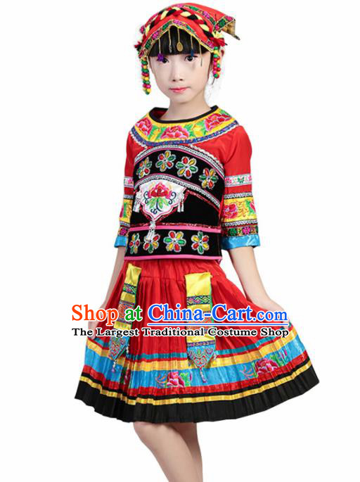 Chinese Traditional Minority Folk Dance Clothing Yi Ethnic Dance Red Dress for Kids