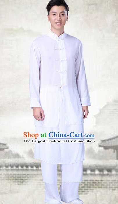Chinese Traditional Folk Dance White Clothing Classical Dance Drum Dance Costumes for Men