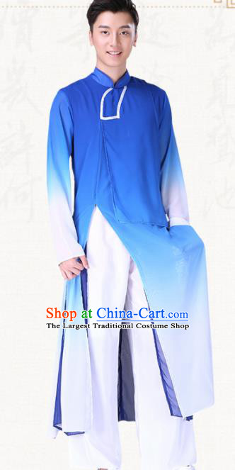 Chinese Traditional Folk Dance Clothing Classical Dance Drum Dance Blue Costumes for Men