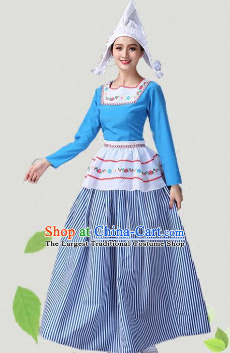 European Traditional Classical Dance Blue Dress Sweden Group Dance Costumes for Women