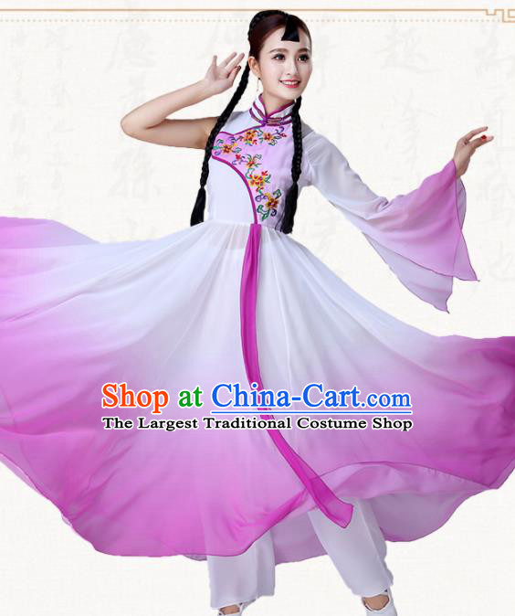 Chinese Traditional Classical Dance Purple Dress Umbrella Dance Group Dance Costumes for Women