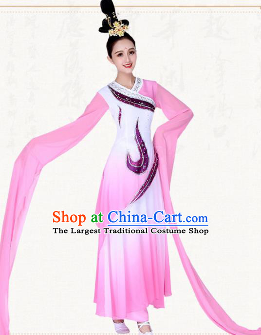 Chinese Traditional Classical Dance Pink Water Sleeve Dress Ancient Group Dance Costumes for Women