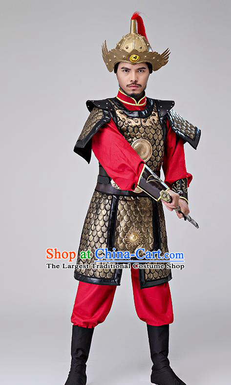 Traditional Chinese Han Dynasty Drama Costumes Ancient Warrior Helmet and Body Armour for Men