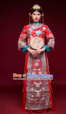 Traditional Chinese Xiuhe Suit Red Wedding Dress Ancient Bride Embroidered Costumes for Women