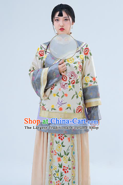 Traditional Chinese Drama Qing Dynasty Xiuhe Suit Ancient Nobility Lady Embroidered Costumes for Women