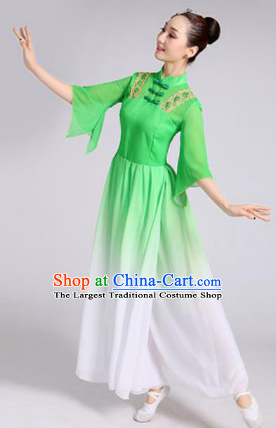 Traditional Chinese Classical Dance Costumes Lotus Dance Umbrella Dance Green Dress for Women