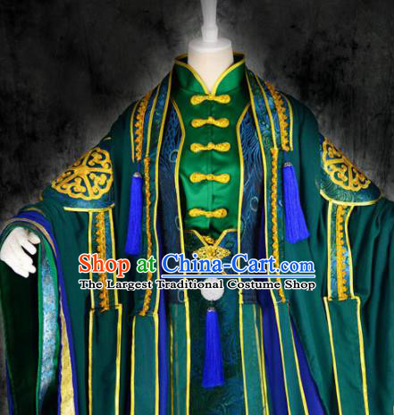 Traditional Chinese Cosplay Royal Highness Embroidered Green Costumes Ancient Swordsman Hanfu Clothing for Men