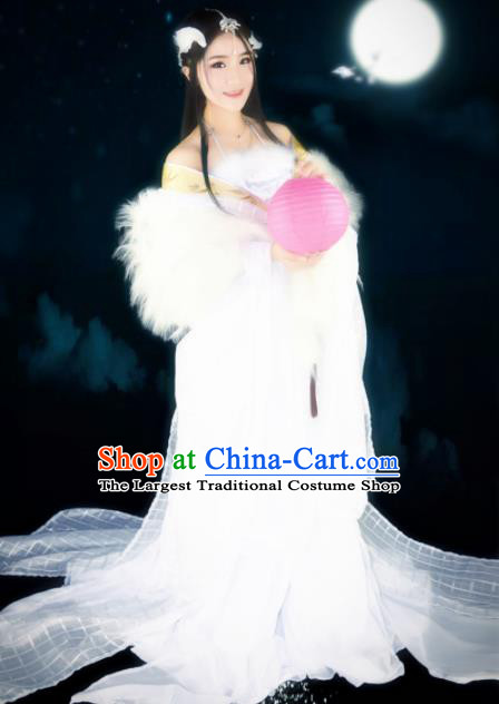 Traditional Chinese Cosplay Imperial Consort Costumes Ancient Peri White Hanfu Dress for Women