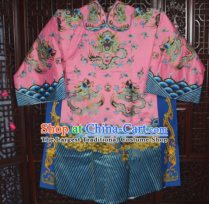 Top Grade Chinese Beijing Opera Costumes Peking Opera Minister Pink Embroidered Robe for Adults
