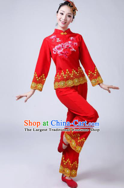 Traditional Chinese Folk Dance Red Costumes Yanko Dance Group Dance Clothing for Women