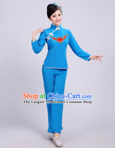 Traditional Chinese Folk Dance Fan Dance Costumes Yanko Dance Group Dance Blue Clothing for Women