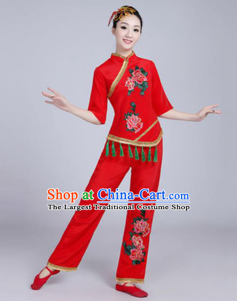 Traditional Chinese Folk Dance Fan Dance Red Costumes Yanko Dance Clothing for Women