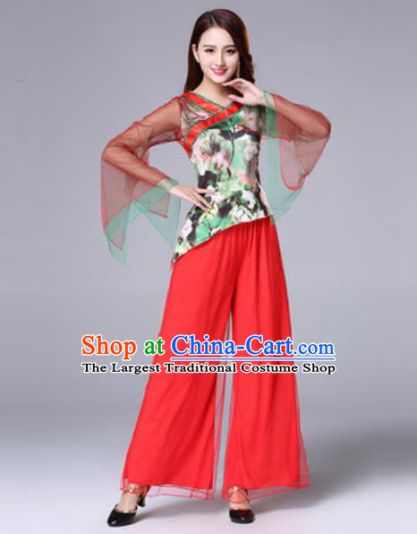 Traditional Chinese Folk Dance Red Costumes Fan Dance Yanko Dance Clothing for Women