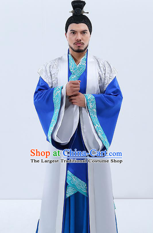 Traditional Chinese Han Dynasty Prime Minister Hanfu Clothing Ancient Drama Embroidered Costumes for Men