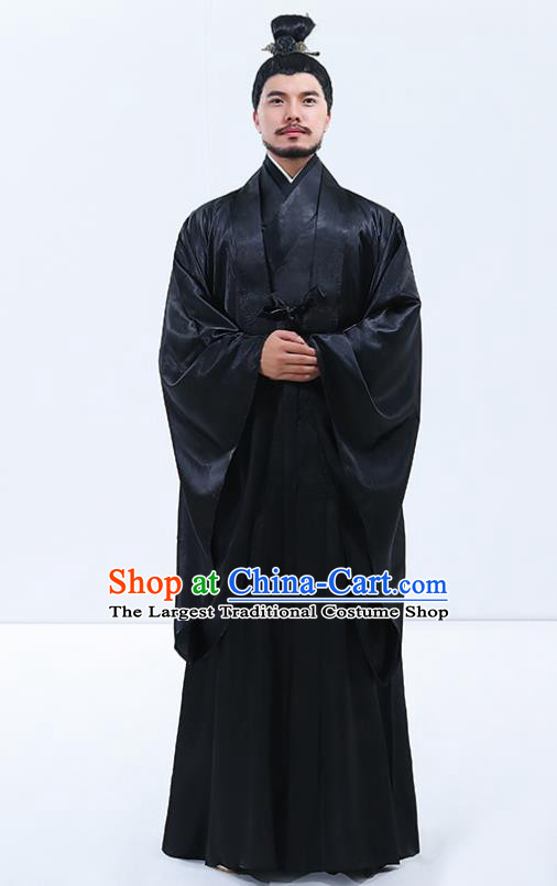Traditional Chinese Drama Han Dynasty Emperor Costumes Ancient Majesty Black Robe for Men