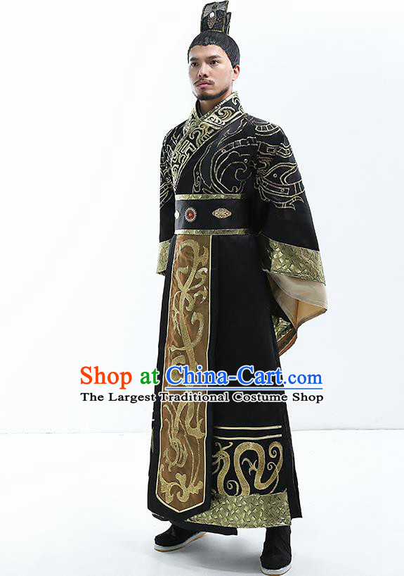 Traditional Chinese Qin Dynasty Majesty Costumes Ancient Drama Emperor Clothing for Men