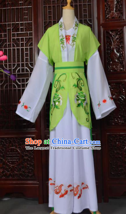 Traditional Chinese Beijing Opera Young Lady Costumes Ancient Maidservants Light Green Dress for Adults
