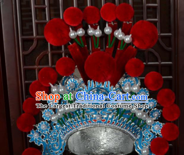 Traditional Chinese Beijing Opera Takefu Hair Accessories Ancient General Helmet Hat for Men