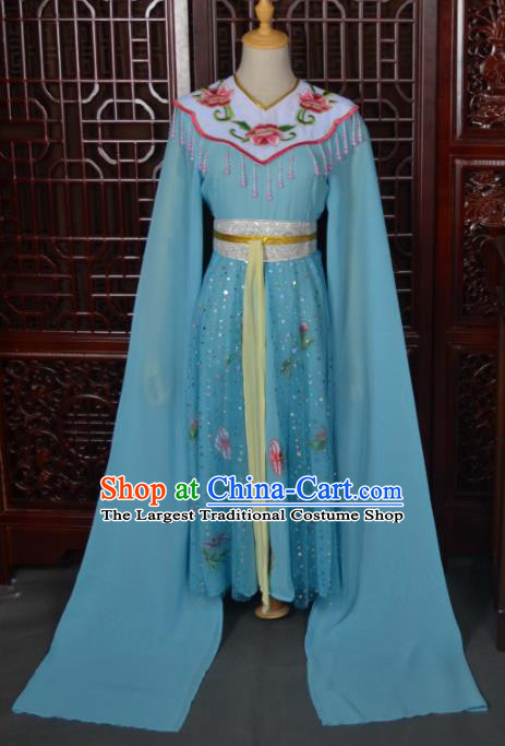 Traditional Chinese Beijing Opera Diva Costumes Ancient Princess Embroidered Blue Dress for Kids