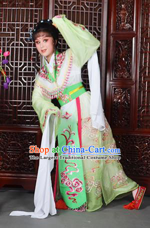 Traditional Chinese Beijing Opera Diva Costumes Ancient Imperial Consort Embroidered Light Green Dress for Adults