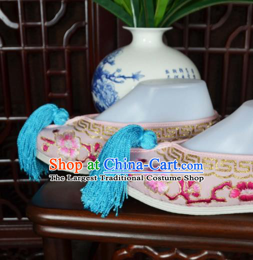 Traditional Chinese Beijing Opera Actress Embroidered Shoes Ancient Princess Pink Hanfu Shoes for Women