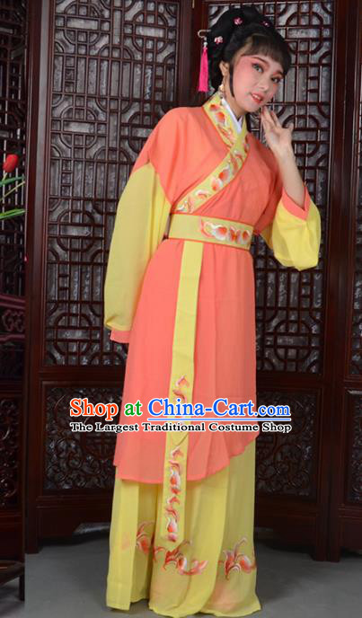 Traditional Chinese Peking Opera Young Lady Costumes Ancient Maidservants Orange Dress for Adults