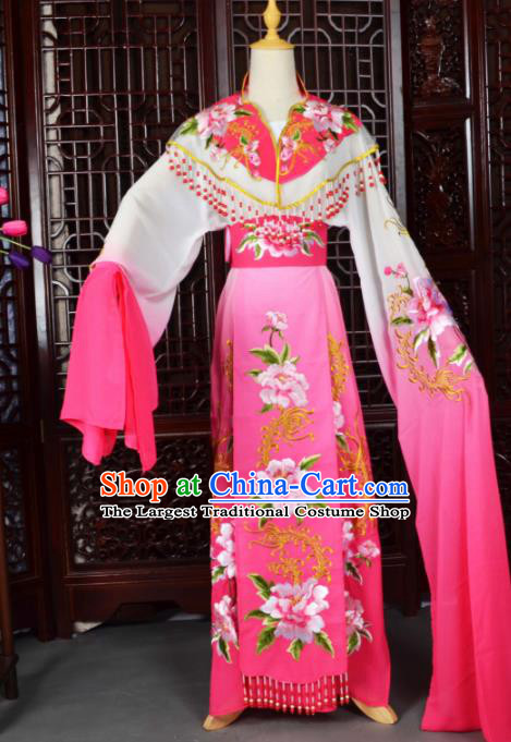 Traditional Chinese Peking Opera Palace Lady Costumes Ancient Imperial Consort Rosy Dress for Adults