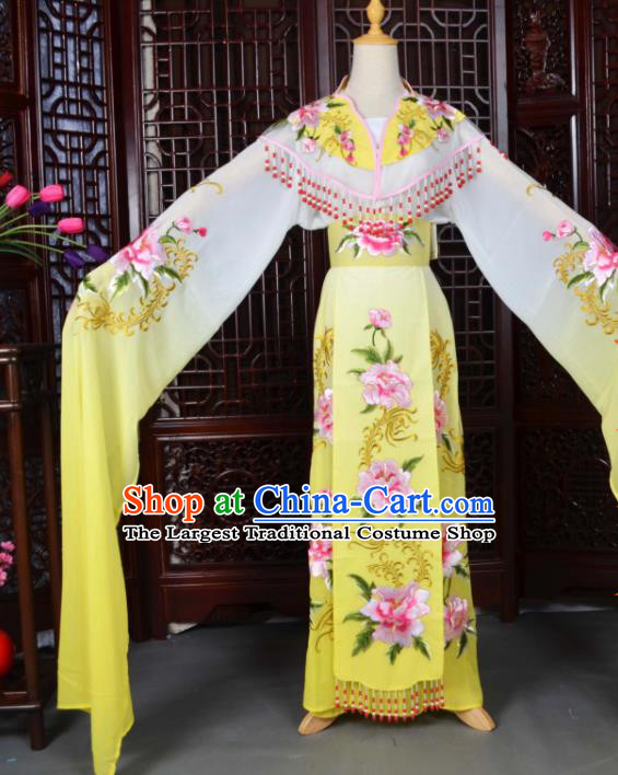 Traditional Chinese Peking Opera Palace Lady Costumes Ancient Imperial Consort Yellow Dress for Adults