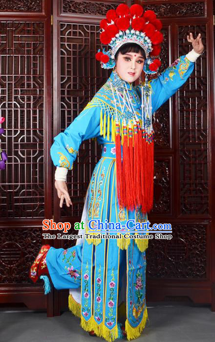 Traditional Chinese Peking Opera Blues Costumes Ancient Female General Blue Dress and Hat for Adults