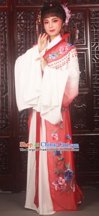 Traditional Chinese Peking Opera Palace Lady Costumes Ancient Imperial Concubine Embroidered Red Dress for Adults