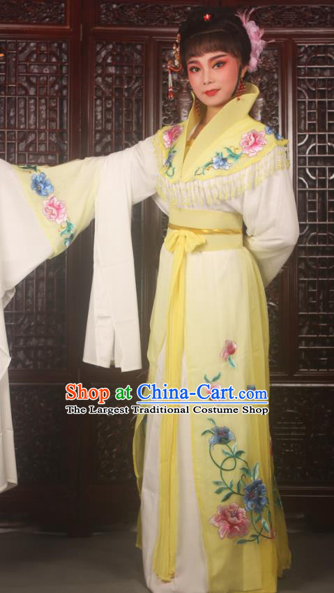 Traditional Chinese Peking Opera Palace Lady Costumes Ancient Imperial Concubine Embroidered Yellow Dress for Adults