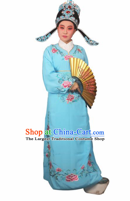 Professional Chinese Peking Opera Niche Costumes Gifted Scholar Embroidered Blue Robe for Adults