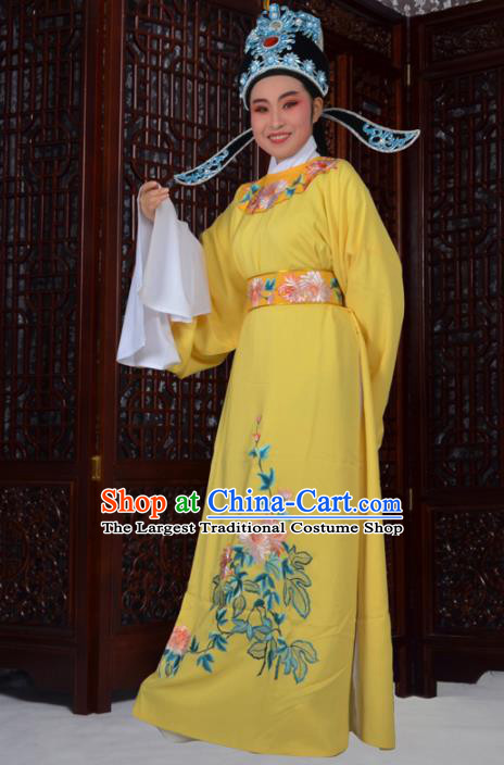 Professional Chinese Peking Opera Niche Costumes Ancient Gifted Scholar Embroidered Chrysanthemum Yellow Robe for Adults