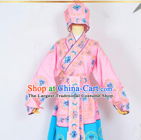Professional Chinese Peking Opera Takefu Costumes Ancient Swordsman Embroidered Pink Clothing and Hat for Adults