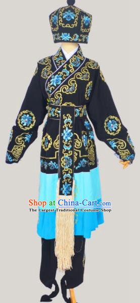 Professional Chinese Peking Opera Takefu Costumes Ancient Swordsman Embroidered Black Clothing and Hat for Adults