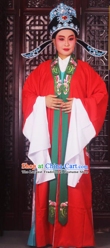 Professional Chinese Peking Opera Niche Costumes Ancient Scholar Red Clothing and Hat for Adults