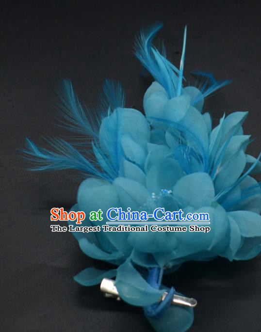 Traditional Chinese Peking Opera Diva Hair Accessories Ancient Princess Blue Feather Hair Stick Headwear for Women
