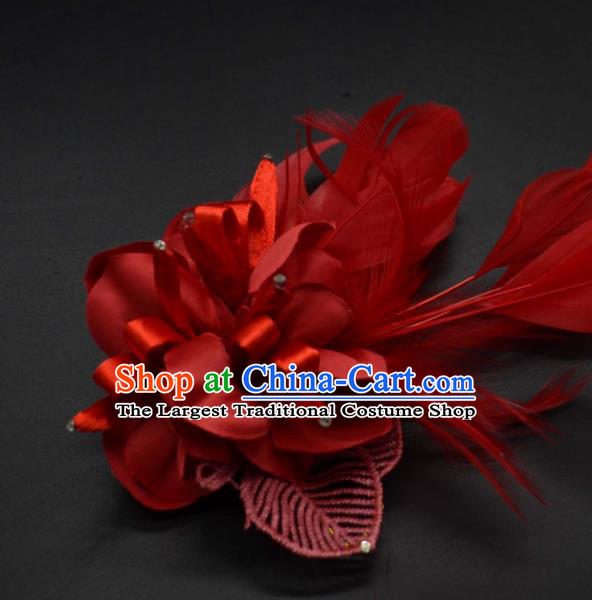 Traditional Chinese Peking Opera Diva Hair Accessories Ancient Princess Red Feather Hair Stick Headwear for Women