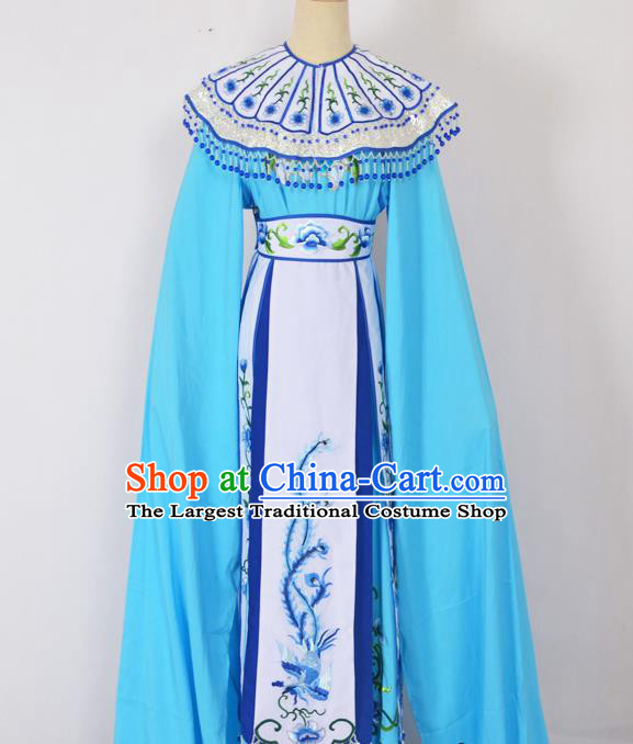 Chinese Ancient Palace Princess Embroidered Blue Dress Traditional Peking Opera Actress Costumes for Adults