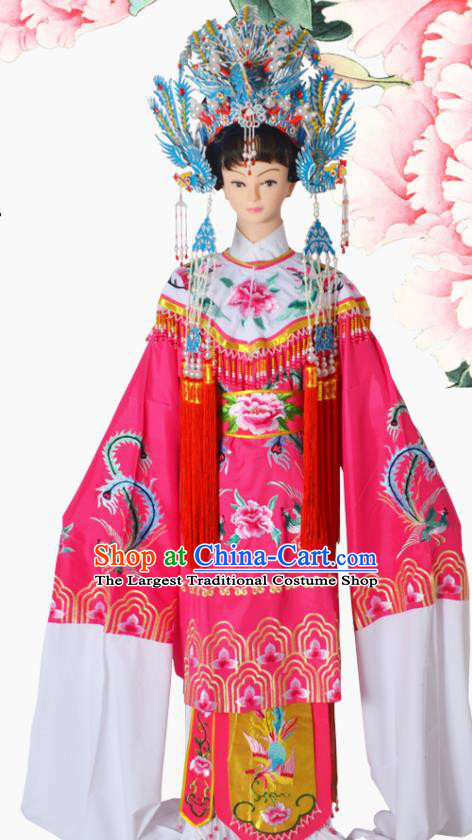 Chinese Ancient Imperial Concubine Embroidered Pink Dress Traditional Peking Opera Actress Costumes and Headwear for Adults