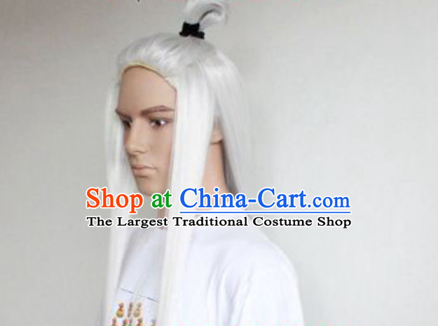 Traditional Ancient Chinese White Long Wig for Men