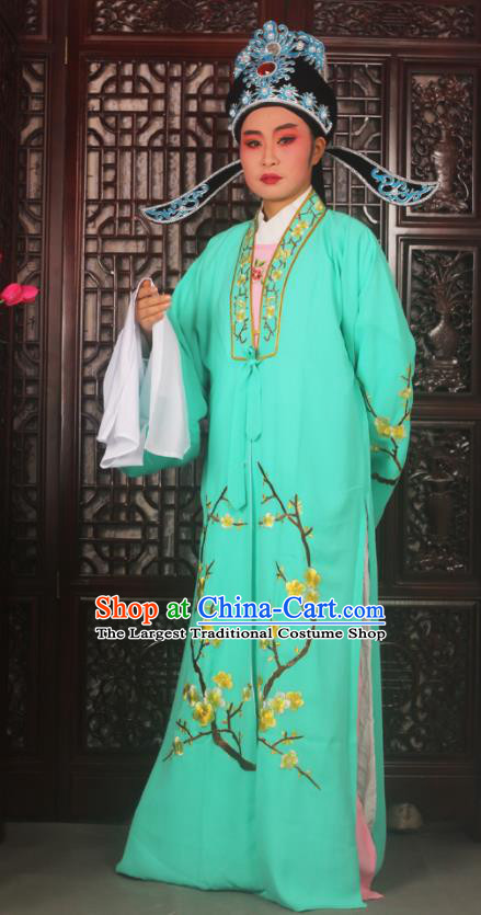 Top Grade Chinese Beijing Opera Costumes Peking Opera Niche Embroidered Green Robe for Adults