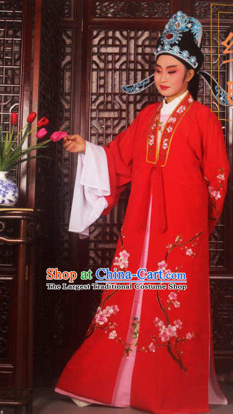 Top Grade Chinese Beijing Opera Costumes Peking Opera Niche Embroidered Red Robe for Adults