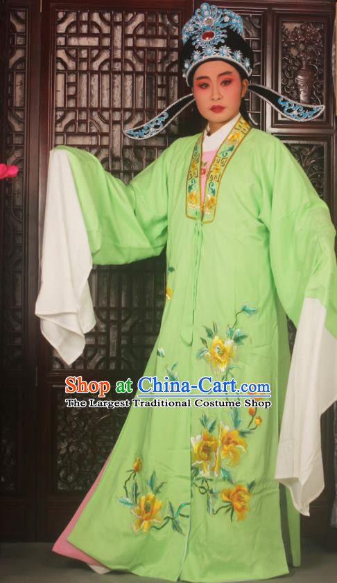 Top Grade Chinese Beijing Opera Scholar Costumes Peking Opera Niche Embroidered Green Clothing for Adults