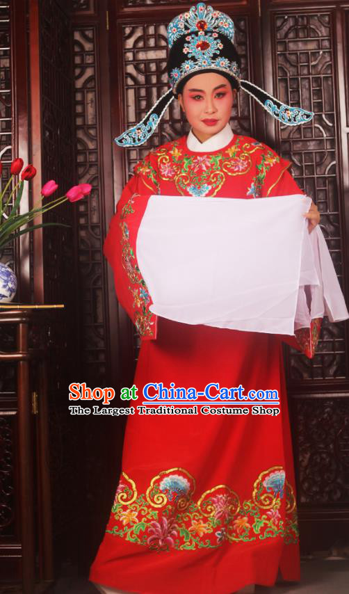 Top Grade Chinese Beijing Opera Niche Red Costumes Peking Opera Scholar Embroidered Clothing for Adults