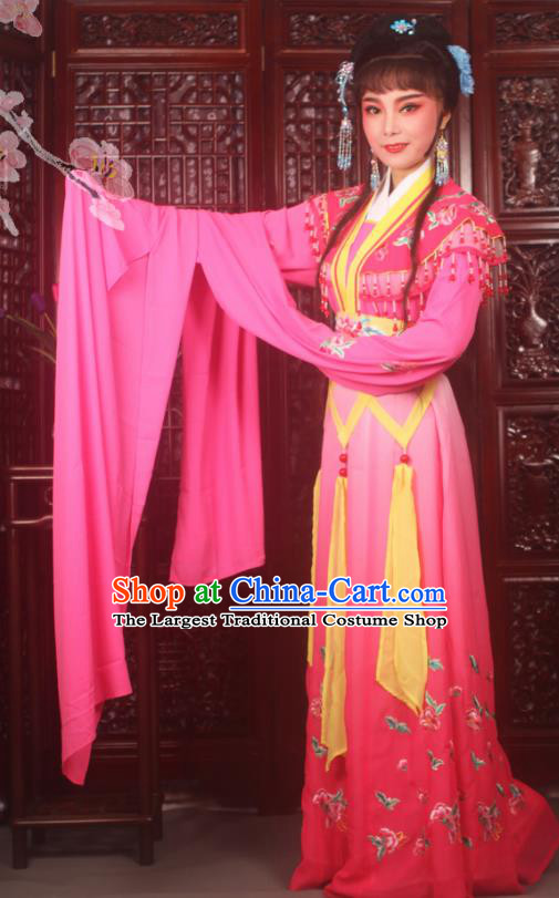Traditional Chinese Peking Opera Peri Princess Costumes Ancient Palace Lady Embroidered Rosy Dress for Adults
